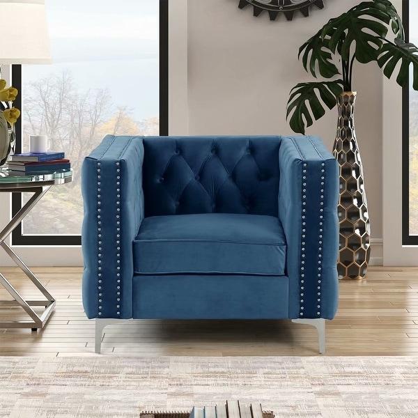 Morden Fort Modern Chair with Deep Dutch Velvet, Iron Legs. Opens flyout.