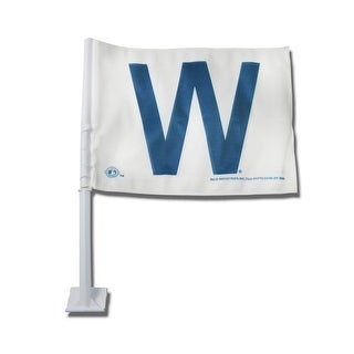 Chicago Cubs White Car Flag with Blue W (Win Logo)