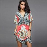 1258da24057 2017 Summer Boho Style Dress Women Hot Maxi Vintage Floral Print Party Beach  Dress Casual Women