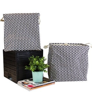 G Home Collection Large Black Triangle Pattern Drawstring Top Fabric Laundry and Storage Box with Handles Cube (Set of 2)