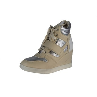 Qupid Selma-01 Lace Up High Top Wedge Heel Sneaker