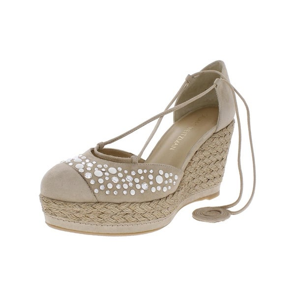 Stuart Weitzman Womens Mallorca Wedge Sandals Suede Embellished