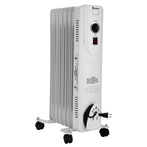 Oil-Filled Radiator Space Heater, Quiet 1500W, Adjustable Thermostat, 3 Heat Settings, Energy Saving