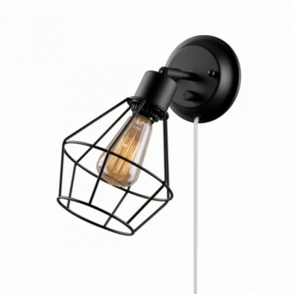 Globe Electric 65448 Plug In Wall Sconce W Pivoting Wire Shade Matte Black