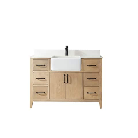 """Sevilla 48"""" Vanity in Washed Ash with Countertop Without Mirror"""