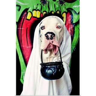 """""""Great Dane wearing a ghost costume, carrying a Halloween bucket"""" Poster Print"""