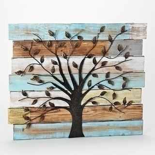 """Set of 2 Distressed Wooden Panel Wall Decor with Iron Tree 23.5"""""""