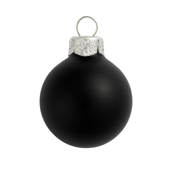 "40ct Matte Black Glass Ball Christmas Ornaments 1.25"" (30mm)"