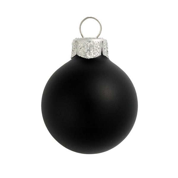 "6ct Matte Black Glass Ball Christmas Ornaments 4"" (100mm)"