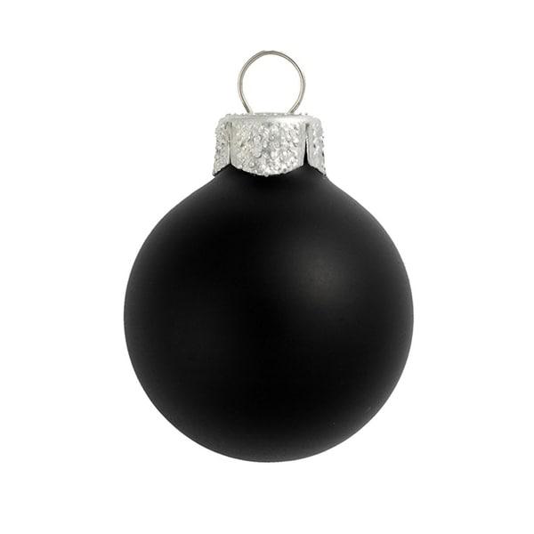 "8ct Matte Black Glass Ball Christmas Ornaments 3.25"" (80mm)"