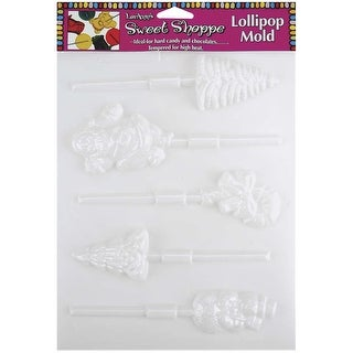 Sweet Shoppe Candy Molds-5 Cavity Christmas Lollipop