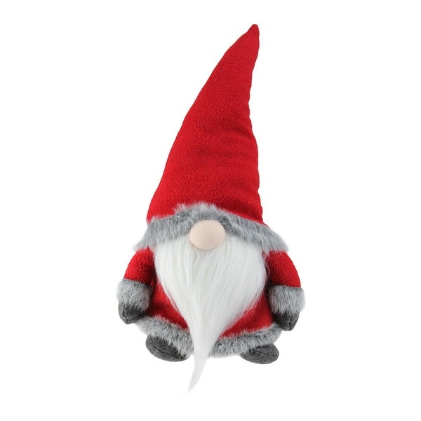 "18"" Red Traditional Sitting Santa Gnome with Gray Faux Fur Trim Christmas Figure"