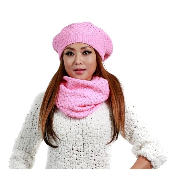 2-Piece Set Winter Knit Hat & Infinity Scarf, Many Colors