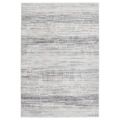 Zesiro Abstract Gray/ Ivory Area Rug