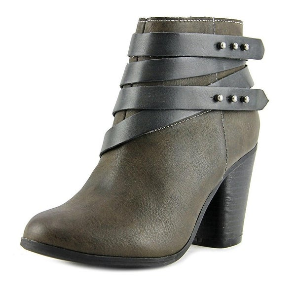 Material Girl Mini Women Round Toe Leather Gray Ankle Boot