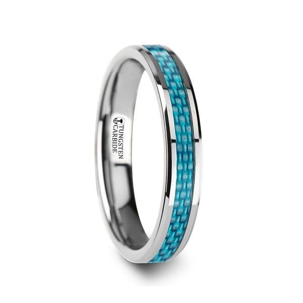 THORSTEN - AUGUSTUS Blue Carbon Fiber Inlay Tungsten Carbide Band - 4mm