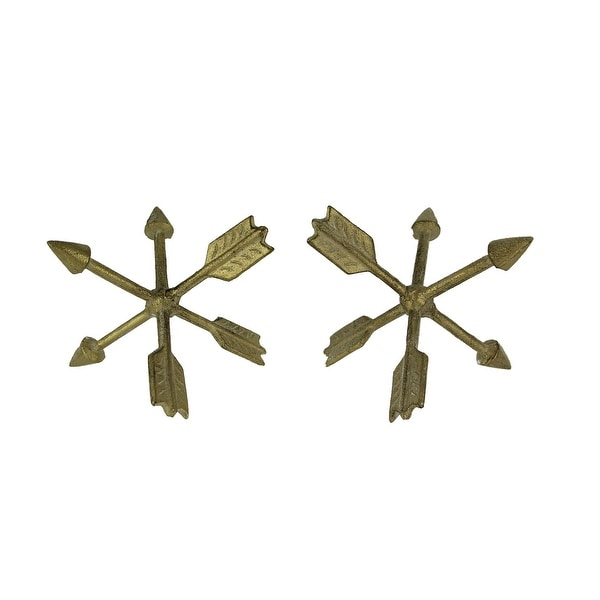 Vintage Gold Metal Crossed Arrows Decor Ball Figurine Set of 2 - 6 X 6 X 6 inches