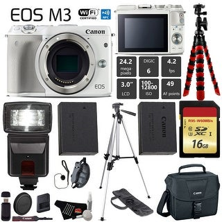 Canon EOS M3 Mirrorless Digital Camera (White, Body Only) + 16GB Class 10 Memory Card + Flash + Canon Camera Case - Intl Model