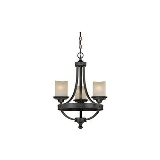 Vaxcel Lighting H0136 Halifax 3 Light Single Tier Chandelier with Glass Shades - 18 Inches Wide