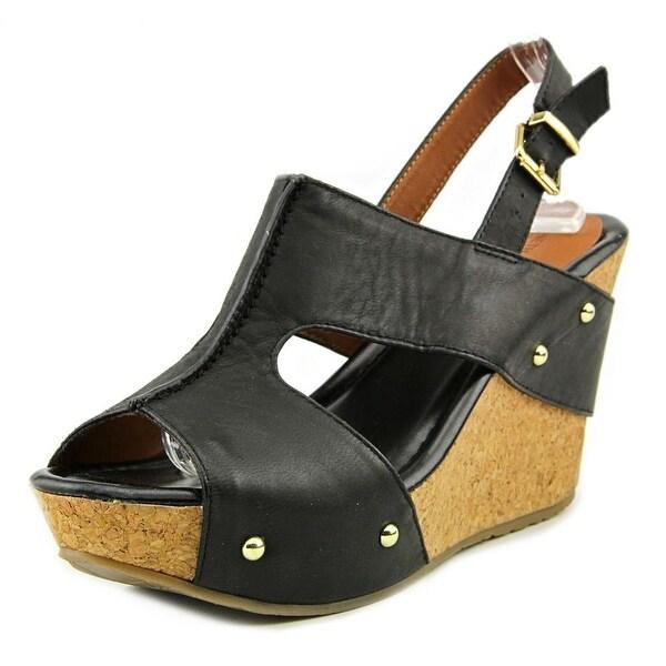 Kenneth Cole Reaction Sole-O Women  Open Toe Leather Black Wedge Sandal