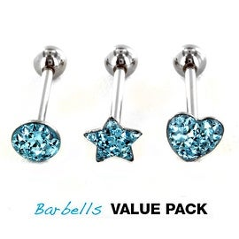 3 Pcs Pack of Assorted Shape Surgical Steel Barbell with Epoxy Aqua Blue Glitter Ball - 14 GA