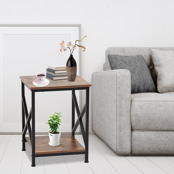 shop kinbor industrial end table 2tier side table with