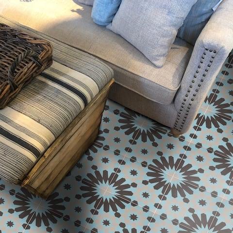 Handmade Agdal in Black, Blue, Grey Tile, Pack of 12 (Morocco)