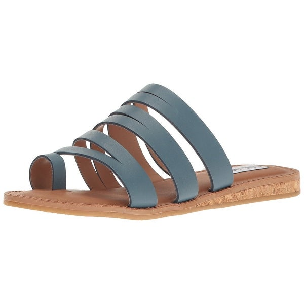 Steve Madden Womens Hestur Leather Open Toe Casual Slide Sandals