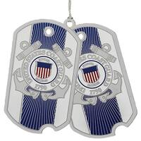 "3"" Blue and Silver US Coast Guard Dog Tags Christmas Ornament"