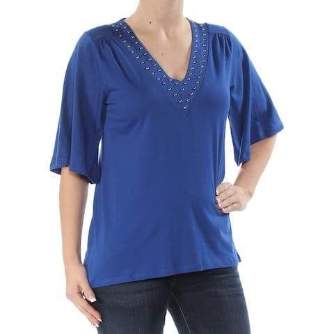 4e575fc7eab MICHAEL KORS Womens Blue Embellished Short Sleeve V Neck Top Size: XS