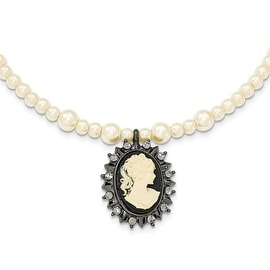 Black IP Crystal Simulated Pearl Acrylic Cameo Flexible Necklace - 15in