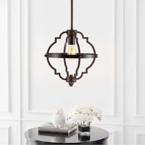 """Ogee 12.5"""" Adjustable Iron Rustic Industrial LED Pendant, Oil Rubbed Bronze by JONATHAN Y"""