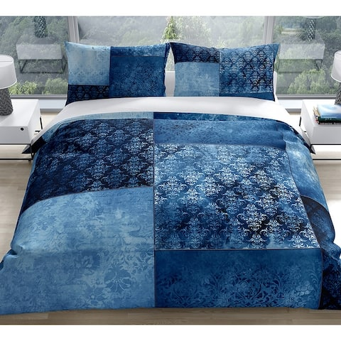ECLECTIC BOHEMIAN PATCHWORK BLUE Duvet Cover by Kavka Designs