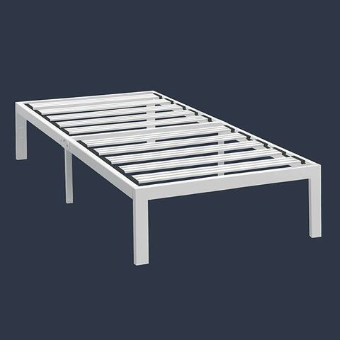 Twin XL Modern Heavy Duty Metal Platform Bed Frame in White