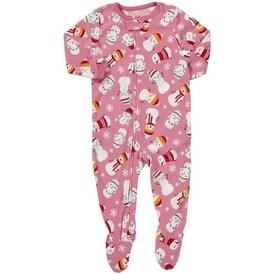Carter's Little Girls' 1-piece Micro-fleece Pajamas Pink Snowman -4 Kids
