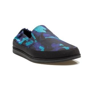 Prada Men's Flat Loafer Slip On Fabric Elastic Shoes Coral Royal Blue