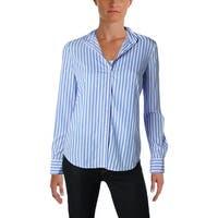 Lauren Ralph Lauren Womens Button-Down Top Striped Crepe