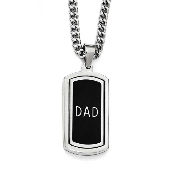 Chisel Stainless Steel Polished with Enamel and CZ Reversible Dad Necklace - 22 in