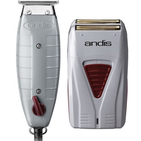 Andis Finishing Combo T-Outliner Trimmer & Pro-Foil Lithium Shaver Set - Silver