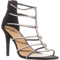 MG35 Raissa Strappy Bejeweled Dress Sandals, Black