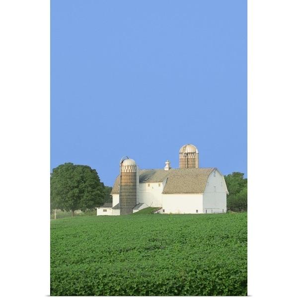 """USA, Illinois, Building in a farm"" Poster Print"