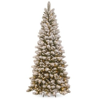 7.5 Pre-Lit Snowy Westwood Pine Artificial Christmas Tree - Clear Lights - green