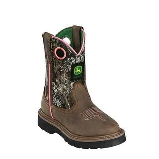 John Deere Girls Mossy Oak Dark Brown Leather Foot Boots 8.5-3