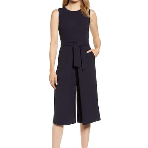 Bishop + Young Womens Jumpsuit Blue Small S Crop Tie-Waist Jewel-Neck