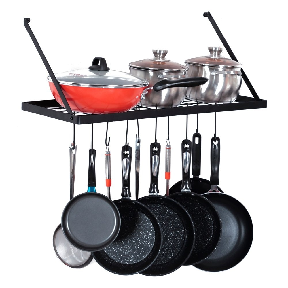 Wall Mount Pot Rack Kitchen Cookware Hanging Organizer With 15 Hooks Overstock 31229456