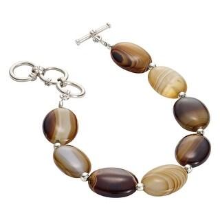 Women's Botswana Agate Bracelet - 8 Polished Natural Brown Banded Stones