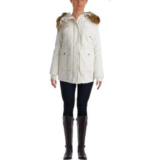 DKNY Womens Faux Fur Hooded Parka