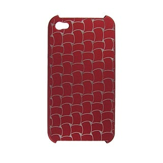 Unique Bargains Rubberized Plastic Dark Red Back Case for iPhone 4 4G