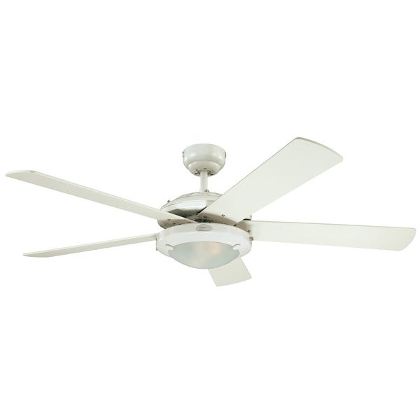 "Westinghouse 7801765 Comet 52"" 5 Blade Hanging Indoor Ceiling Fan with Reversible Motor, Blades, Light Kit, and Down Rod - White"