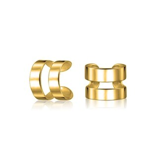 Bling Jewelry Gold Plated 925 Sterling Silver Modern Geometric Ear Cuffs